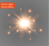 Star on a transparent background,light effect,vector illustration. burst with sparkles. Sun.Special effect  on transparent background.spark Royalty Free Stock Photos