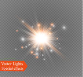 Star on a transparent background,light effect,vector illustration. burst with sparkles. Sun.Special effect  on transparent background.spark Stock Photo