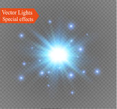 Star on a transparent background,light effect,vector illustration. burst with sparkles. Sun.Special effect  on transparent background.spark Stock Image
