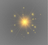 Star on a transparent background,light effect,vector illustration. burst with sparkles. Sun.Special effect isolated on transparent background.spark Stock Images