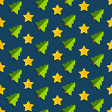 Star Tree Christmas Vector Blue. Seamless vector pattern Christmas background with Christmas Christmas trees and golden stars vector illustration