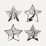 Star trees set. Vector illustration. Pattern geometric figure. Royalty Free Stock Images