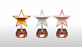 Star trophy illustration. Trophy icons. Star trophy illustration. Star cup. Gold, silver, bronze winner cup. Trophy icons Stock Photography