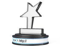 Star Trophy over Browser Address Bar as Round Platform Pedestal. Star Trophy over Browser Address Bar as Round Platform Pedestal on a white background. 3d Stock Photography