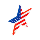 Star in the USA flag colors isometric 3d icon. On white background Royalty Free Stock Photo
