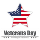 Star with USA flag inside for Veterans Day. Vector illustration Royalty Free Stock Images