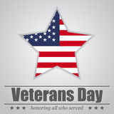 Star with USA flag inside for Veterans Day. Vector illustration Stock Photography