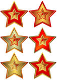Star (vector) Collection of the stars (vector). Silvery, golden and bronze stars isolated on white background (vector vector illustration