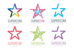 Star vector logo icon template set. Leader, boss. Winner, rank or ranking. Competition and sport shape. Star symbol. Star vector logo. Leader concept Royalty Free Stock Photography