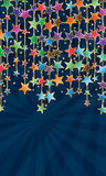 Star vertical colorful hang ray effect. This illustration is design star vertical hanging in effect blue ray background and template writing Royalty Free Stock Image