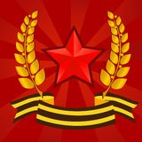 Star of Victory day. With laurels and george ribbon Royalty Free Stock Photo