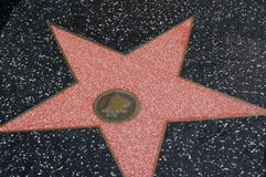 Star on walk of fame. A close up view of a star embedded on the famous sidewalk Walk of Fame in Hollywood, California (USA Stock Photo