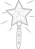 Star wand coloring page Royalty Free Stock Photo