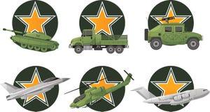 Star war vehicles. War Vehicles with star shape  illustration Stock Photo