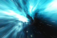 Star Warp or Hyperspace, abstract speed tunnel warp in space. Across the universe, 3d rendering Stock Image