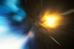 Star Warp or Hyperspace, abstract speed tunnel warp in space. Across the universe, 3d rendering Royalty Free Stock Images