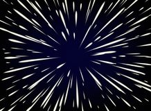 Star Warp or Hyperspace with free space in the center, light of moving stars concept. Vector abstract background with Star Warp or Hyperspace with free space in Royalty Free Stock Photo