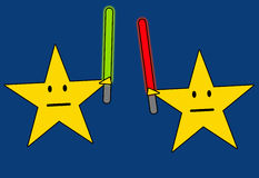 Star wars. Stars fighting it out with light sabres Royalty Free Stock Photo