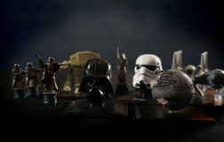 Star Wars battlefield scene with iconic characters Stock Photos