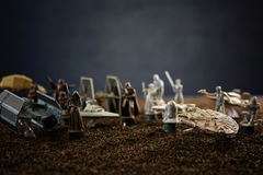 Star Wars battlefield scene with iconic characters Stock Photo
