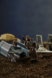 Star Wars battlefield scene with iconic characters Stock Image