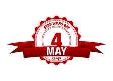 Star Wars-Dag 4 mei Kalender rode vector Royalty-vrije Stock Foto's