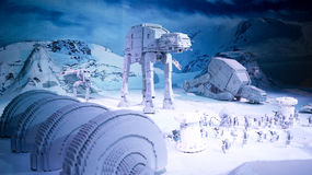 Star Wars Empire Strikes Back lego. Lego models of the movie epic Star Wars from the episode The Empire Strikes Back. These are displayed at Legoland in Malaysia Royalty Free Stock Images