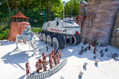 Star Wars Episode at Legoland Germany. Episode from Star Wars with walkers made from plastic lego blocks in Legoland Gunzburg Germany. On 27.08.2012 Stock Image