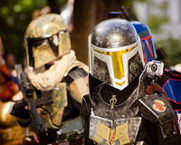 A Star Wars fan dressed as Boba Fett