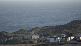 Star Wars filmuppsättning på den Breasty fjärden i Malin Head, Co Donegal Ir Arkivfoto