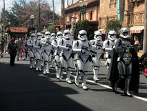 Star Wars Imperial Storm Troopers at Hollywood Studios, Orlando, FL. Imperial Storm Troopers march down Main St. in Hollywood Studios, Orlando, Florida Royalty Free Stock Photo