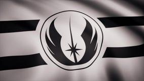 Star Wars Jedi-Auftragsflagge bewegt auf transparenten Hintergrund wellenartig Nahaufnahme der wellenartig bewegenden Flagge mit  vektor abbildung