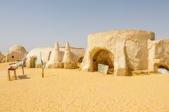 Star Wars läge i den Tunisien filmuppsättningen, Tozeur Sahara, Afrika arkivfoto