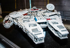 Star Wars Millennium Falcon Starship, made by Lego blocks Stock Photo
