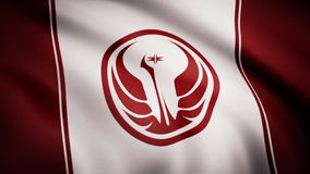 Star Wars Old Republic Symbol on flag. The Star Wars theme. Editorial only use.  stock illustration