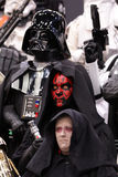 Star wars personnage at Comic con in Montreal. MONTREAL-CANADA SEPT 13 2014: Darth Vader, Darth Maul and Emperor Palpatine at Comic con experience at congress royalty free stock photography