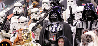 Star wars personnage at Comic con in Montreal. MONTREAL-CANADA SEPT 13 2014: Fan disguise in Darth Vader and Stormtrooper at Comic con experience at congress royalty free stock image