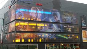 Star Wars 7 Reklame Berlin Alexanderplatz. Film Kino Werbung Big Picture Royalty Free Stock Images