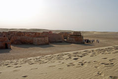 Star Wars set about to be engulfed by a sand dune, Tunisia Stock Photos