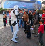 Star wars soldier with childrens  at Disneyland, Los Angeles Stock Image