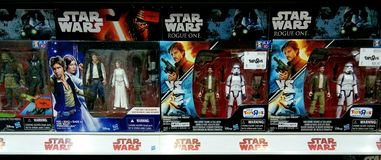 Star wars toys on shelves in shopping mall.