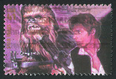 Star Wars. UNITED STATES - CIRCA 2007: stamp printed by United states, shows Star Wars, Chewbacca and Han Solo, circa 2007 Royalty Free Stock Photo