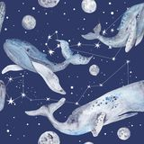 Star Whales Watercolor Pattern Stock Image