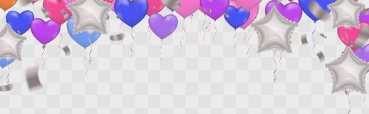 Star White balloon and  balloon on background. Party helium ball. Oons balloons  on white background. confetti and ribbons. Vector illustration Royalty Free Stock Photo