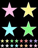 Star, white star collection with colored stripes coming out from above. Geometric figure in the shape of star on the black background Royalty Free Stock Photography