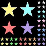 Star, white star collection with colored stripes leaving from the center. Geometric figure in the shape of star on the black background Royalty Free Stock Photography