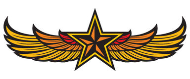 Star and wings. Eagle wings, yellow star badge Royalty Free Stock Images