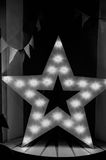 Star wood with warm yellow lights. The moment of glory, Black and white Royalty Free Stock Photos