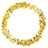Star wreath. Circle frame of gold gritter stars vector illustration