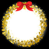 Star wreath. Circle frame of gold gritter stars stock illustration